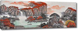 Водопады в красных скалах