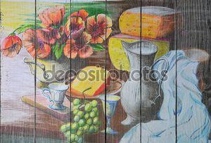 Натюрморт с сыром и виноградом