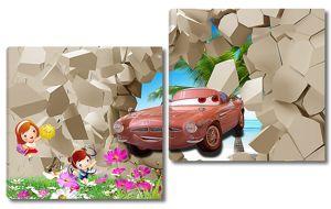 Машинка в разломе стены