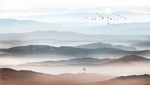 Птицы на фоне холмов