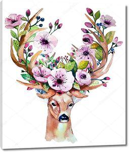 Олень с цветами