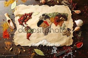 Карта мира из различных специй