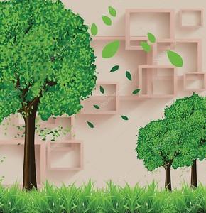 Зеленые деревья сбрасывают свои листья