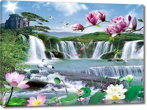 Водопад с лотосами