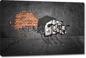 Граффити собака бежал из серые стены