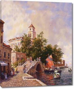 Прекрасный вид на мост и реку в городе