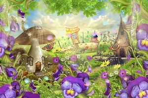 Лес с цветами и грибами
