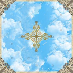 Небо с треугольными орнаментами по углам
