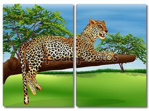Леопард лежащий выше ветка дерева