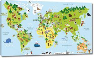 Мультяшная карта мира с животными