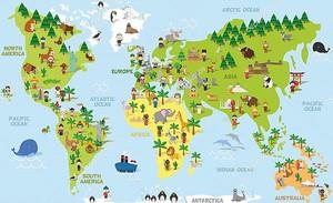 Забавный мультфильм карта мира с детей разных национальностей, животных и памятники всех континентов и океанов. Векторная иллюстрация