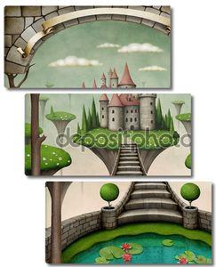 Прекрасная фея фона или иллюстрации с висячими луга и замок.