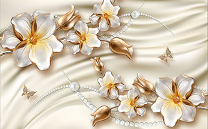 Цветы с бусами на шелке