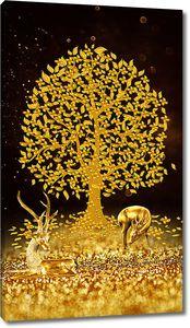 Олени у золотого дерева