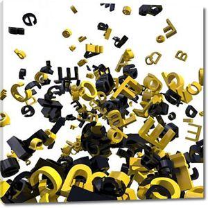 Буквы на белом фоне желтые черные