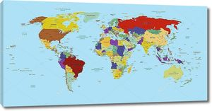 Карта мира разноцветная на русском языке