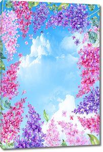 Небо в рамке из разноцветной сирени