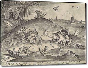 Брейгель Гравюра. Большие рыбы пожирают малых рыб