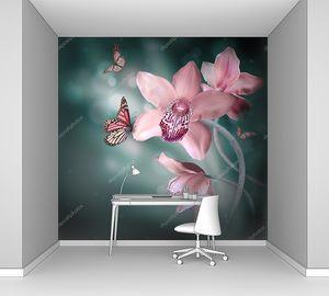 Орхидеи с бабочкой на цветном фоне