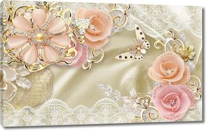 3d иллюстрация, бежевый шелковый фон, белый и золотой орнамент, розовые розы с серебристым покрытием, розовый цветок жемчуга, большая бежевая бабочка