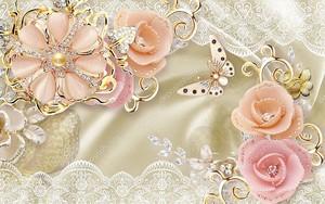 Шелковый фон, кружева и бутоны роз