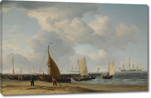Чарльз Брукинг. Сцена на голландском пляже с военным вдали