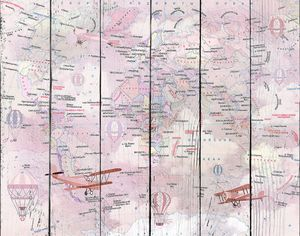 Розовая карта мира с аэропланами