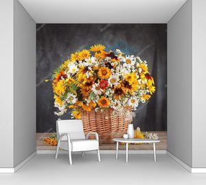 Натюрморт с корзиной цветов