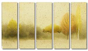 Осенний лес акварелью