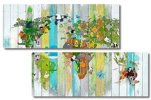 Детская карта мира на досках