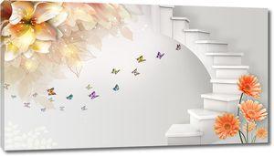 3D лестница и цветы