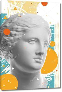 Модный художественный коллаж со штукатурной антикварной скульптурой лица Венеры в стиле поп-арт. Креативный модный концептуальный образ в стиле современного сюрреализма. Красота, мода и здоровье. Зин.