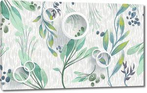 Абстрактные зеленые растения, белые кольца