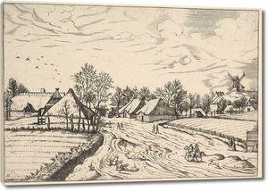 Брейгель. Гравюра. Вид с мельницей на холме  (офорт)