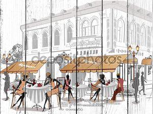 Эскиз Старого города с кафе