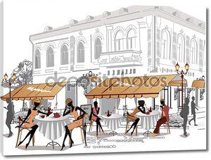 Серия эскизов красивой видом на Старый город с кафе