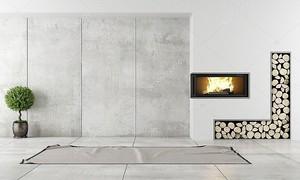 Современный интерьер с камином