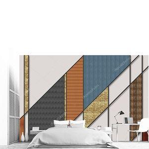 Мозаика из темно-серых, золотистых и коричневых плиток на сером фоне