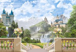 Вид с лестницы на два замка