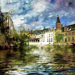 Фреска с видом на архитектуру и реку