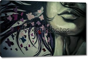 Colorful graffiti, abstract grunge graffiti background