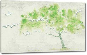 Чайки на фоне дерева