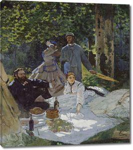 Моне Клод. Завтрак на траве, Центральная панель, 1865