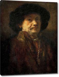 Рембрандт. Автопортрет в шубе с золотой цепью и серьгой