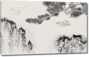 Ветка сосны на фоне гор