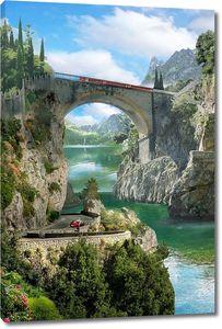 Мост в скалах над рекой