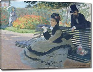 Моне Клод. Камилла Моне на Садовой скамейке, 1873