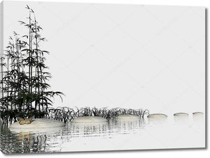 Бамбук в водt возле камней