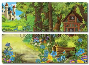 Старый дом в лесу и замок в фоновом режиме он