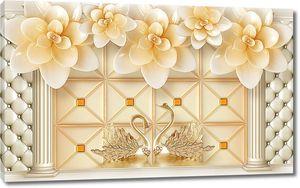 Золотые лебеди и цветы в арке из колонн